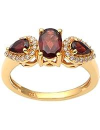 d32dae060788 Shine Jewel Granate Chapado de rodio Amarillo con Anillo de Piedras  Preciosas de circón cúbico 925