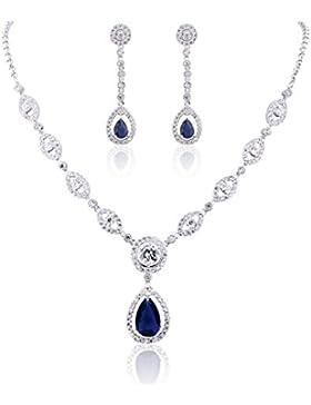 GULICX Damen Schmuckset Ohrringe und Halskette Silber-Ton 4 Farbe Saphir / Rubin / Smaragd / Weiß Ohrhänger mit...