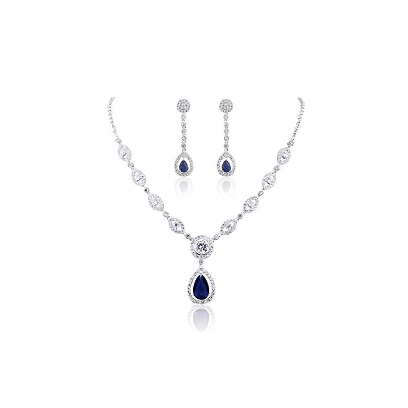 GULICX AAA Cubic Zirconia CZ Women's Party Jewelry Set Fashion Earrings Pendant Necklace Silver Plated