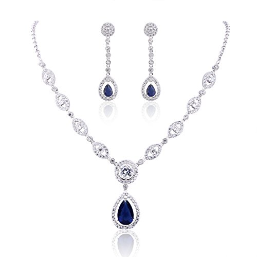 - 41FlbZ FQdL - GULICX AAA Cubic Zirconia CZ Women's Party Jewelry Set Fashion Earrings Pendant Necklace Silver Plated