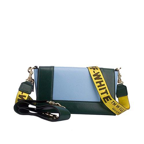 Frauen Echtes Leder Kampf Farbe Postman Paket Einzelne Schulter-Umhängetasche Tasche Darkgreen