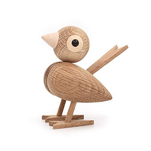 Ruiyiheng Bunte Holzfigur Handarbeit abstrakte Skulptur niedliche kleine Vögel Statue Home Decor Geschenk Kunstwerk Hochzeit Garten Puppenhaus Ornament Modell für Zuhause Dekoration Weiß, Eiche