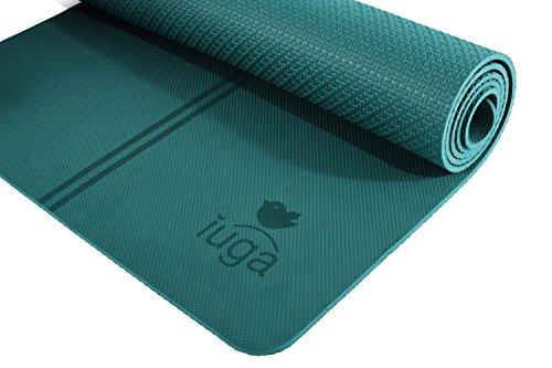 IUGA rutschfeste Yogamatte, extra dick, 7mm, Mittellinien als Ausrichtungsshilfe, mit hochwertigem Gratis-Tragegurt, 100% TPE–ausgezeichnetes,...