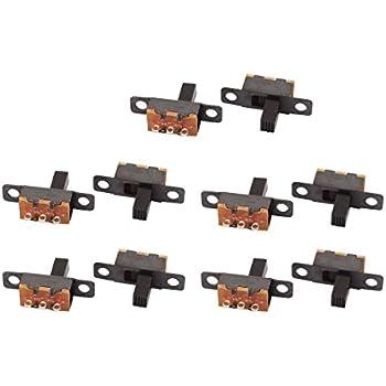 YUNB Commutateur /à Bascule /à Verrouillage 10Pcs SPDT Montage sur Panneau Micro-Interrupteur /à glissi/ère 2 Position 3P