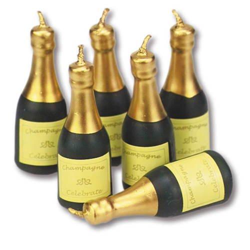 Champagner-Flaschen, Kerzen-Set ca. 55mm, 6 Stk. (Champagner-set Von 6)