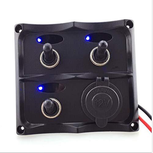 Huashao Zugschalttafel mit Sicherungsschutz Yachtauto Bootsschalter Yachtkabine 12V / 24V (Blaulicht) - Schalter Spst-relais