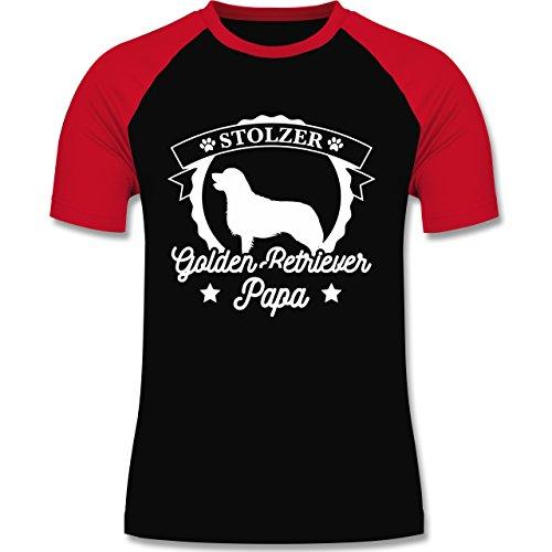 Shirtracer Hunde - Stolzer Golden Retriever Papa - Herren Baseball Shirt Schwarz/Rot