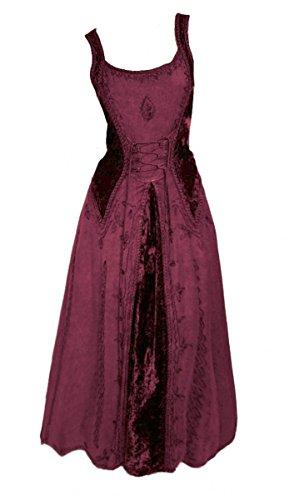Dark Dreams Gothic Mittelalter LARP Kleid Samt bestickt Schnürung Guinerva, Farbe:bordeaux, Größe:S/M (Für Erwachsene Knöchel Kleid Kostüm)