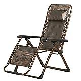 GJY Chaise Vintage PE PE Vine Zero Gravity, inclinable de Camping Portable, inclinable de Salon Pliant, Chaise Longue de Patio Brun pour Piscine extérieure-Brown