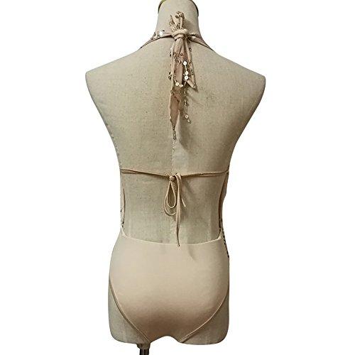 Topgrowth Donna Rompers Sequains Bendaggio al Collo Maniche Lunghe Senza Schienale Bodysuit Scollo a V Club Festa Jumpsuit Beige