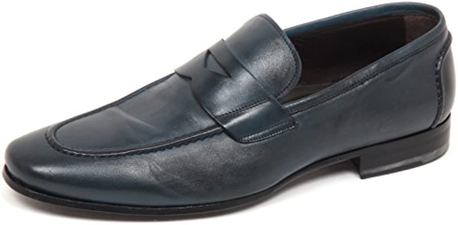 E6666 Mocassino uomo BLU Petroleum ALTIERI Milano Scarpe Washed Loafer Shoe Man