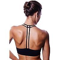 Queenie Ke da donna croce sostegno lombare senza Yoga Reggiseno Sportivo Black Pro Medium, D