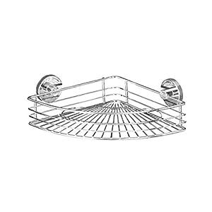 Wenko 20887100 Vacuum-Loc Eckablage Bari - Befestigen ohne bohren, Stahl, 22 x 8,5 x 31,5 cm, chrom