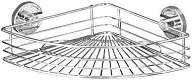 WENKO 20887100 Vacuum-Loc rinconera Bari - fijar sin taladrar, Acero, 31.5 x 8.5 x 22 cm, Cromo