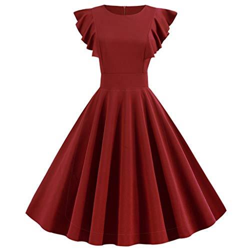 SHINEHUA Damen 50er Jahre Audrey Hepburn Vintage Kleid Rockabilly Cocktail Partykleid Kurzarm Rundhal Abendkleider Elegante Ballkleid Knielang festlich Brautjungfernkleider - Besonderes Ballkleid