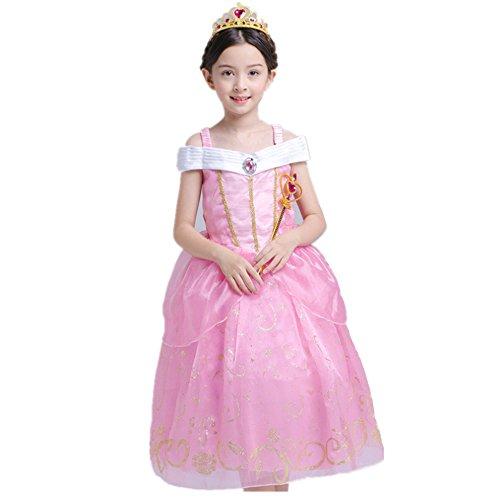 Das beste Gelb Belle Kostüm Kinder Glanz Kleid Mädchen Rollenspiele Weihnachten Verkleidung Karneval Party Halloween Fest (150, Rosa) Teen-disney Prinzessin Kostüme