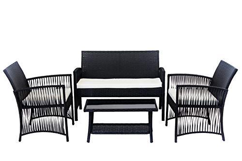 AVANTI TRENDSTORE - Alima - Set di mobili da Giardino in ecorattan Nero con Cuscini Bianchi Inclusi, 2 poltrone Singole, 1 Poltrona a Due posti ed 1 Tavolo con Piano in Vetro Nero.