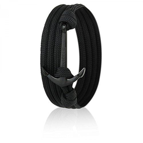 Skipper Anker-Armband Wickelarmband Nylon in Schwarz mit Schwarzem Anker 6620