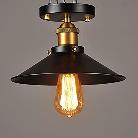 BAYCHEER Vintage Edison Industrial Lights Loft Black Metal Shade Cone