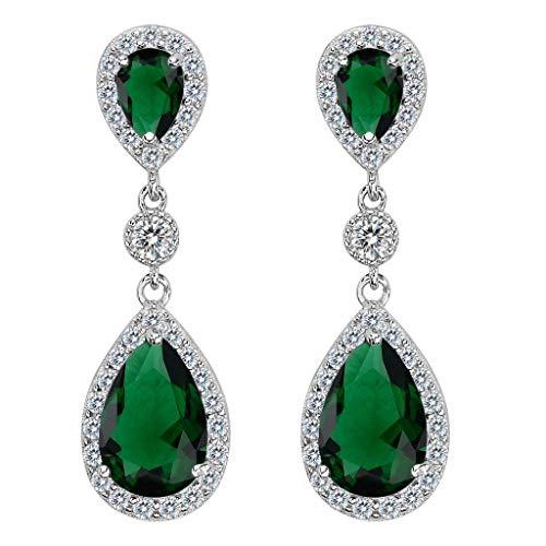 Clearine Damen 925 Sterling Silber Elegant Hochzeit Braut Cubic Zirconia Unendlichkeit Tropfen Pierced Dangle Ohrringe Smaragd-farbe