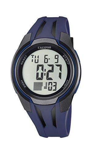 Calypso–Reloj digital unisex con LCD Pantalla Digital Esfera Azul y Correa de plástico K5703/4