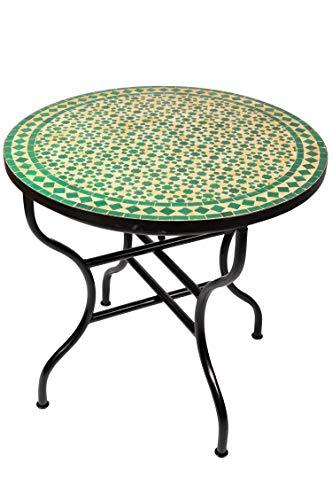 ORIGINAL Marokkanischer Mosaiktisch Gartentisch ø 80cm Groß rund klappbar | Runder klappbarer Mosaik Esstisch Mediterran | als Klapptisch für Balkon oder Garten | Albaicin Beige Grün 80cm