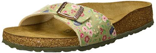 BIRKENSTOCK Damen Madrid Pantoletten, Mehrfarbig Meadow Flowers Khaki, 40 EU