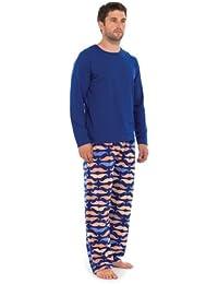 Mens Moustache Print PJ Set Pyjamas Night Wear Winter Fleecy Gift - Navy, Medium