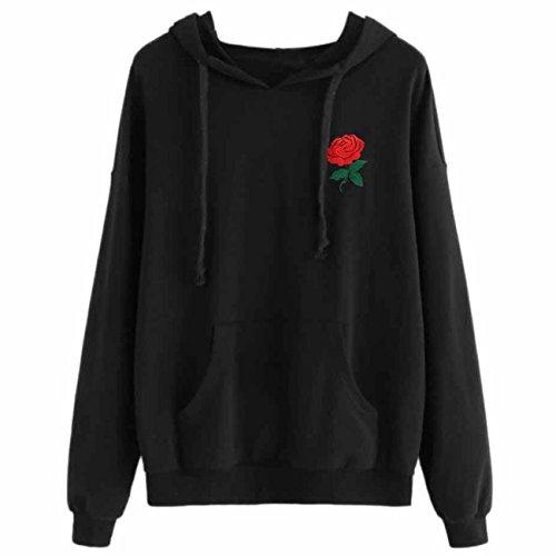 Damen Hoodie, VEMOW Frauen Rose Gedruckt Schwarz Kapuze Kordelzug Sweatshirt (Frauen Under Armour Hoodie)