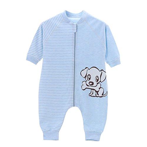 Chilsuessy Baby Sommer Schlafsack mit Beinen Unisex Kleine Kinder Schlafsack Baby Strampler Schlafanzug Pyjamas Baumwolle, Blau Hund, Etikett90/Koerpergroesse 75-85cm