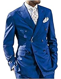 Botong Mens Double Breasted Royal Blue Wedding Suits Notch Lapel 2 Pieces Groom Tuxedos