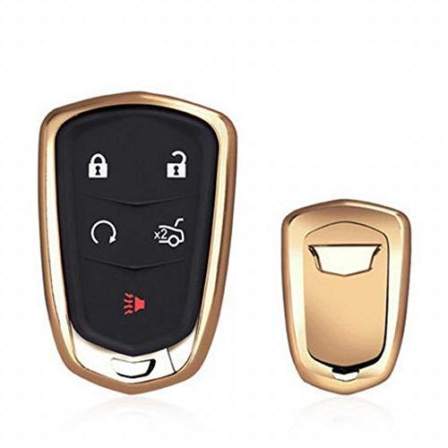 Schutzhülle Case Cover Cadillac Flip Key Fob Auto Remote Key Fob Fall für XT 5 ATSL XTS CT6 SRX Schlüsselanhänger Remote Key Key Case (Farbe : Gold) ()