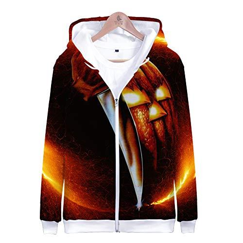 LEILEITX Unisex 3D Druck Männlich Weiblich Hoodie Kapuzenpullover Langarm Sweatshirt Kapuzenjacke Mit Taschen Reißverschluss Michael Myers Halloween