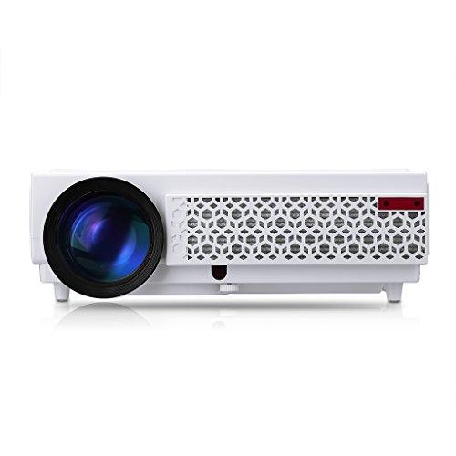 Excelvan LED 96+ - LED Projektor Beamer mit 3000 Lumen und 1080P (Heimkino für PC, Smartphone, PS4, TV Box, Xbox, Familie, kleine Konferenz, Ausbildung, KTV, Nachtclub, HDMI, VGA, USB, 20000 Stunden, 120 Zoll) (Weiß)