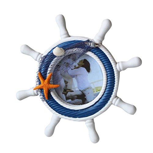 WINOMO Nautical Mediterranean Style Nordic Handgefertigte hölzerne Ruder Shell Sea Star Foto Frame Lenkrad