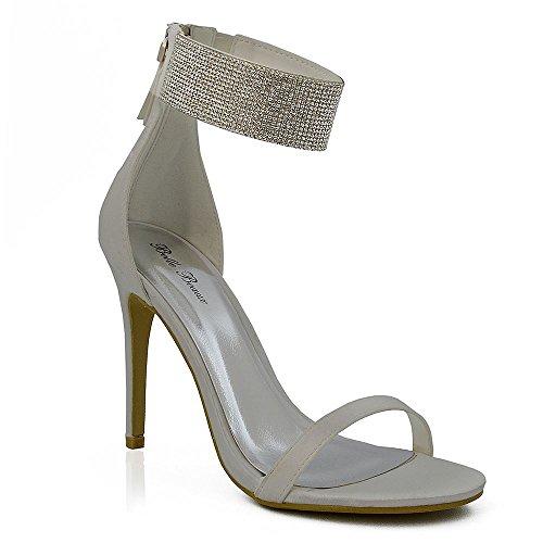 ESSEX GLAM Donna Diamante Cinturino alla Caviglia Stiletto Peep Toe Sintetico Sandalo Avorio Satinato