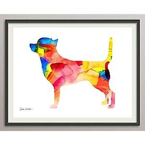 chihuahua Rasse Hunde Hunderasse Fine Art Print Aquarell Silhouette Profil Poster Kunstdruck Plakat modern ungerahmt DIN…