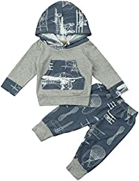K-youth® Ropa Bebe Niño Otoño Invierno Camisetas con capucha manga larga y Pantalones, 0~24 meses Bebe Ropa