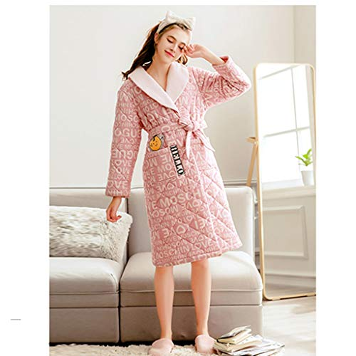 RHRSY Frau Flanell Bademantel, weiches Dickes Bademantel Nachthemd Pyjamas - Pyjamas Coat - Hotelsauna Dusche (Color : Pink, Size : XXL)