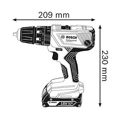 Bosch Professional GSB 18V-21 – Taladro percutor a batería (2 baterías x 2,0 Ah, 18V, máx. perforación 10 mm, set 40 puntas, en L-BOXX)