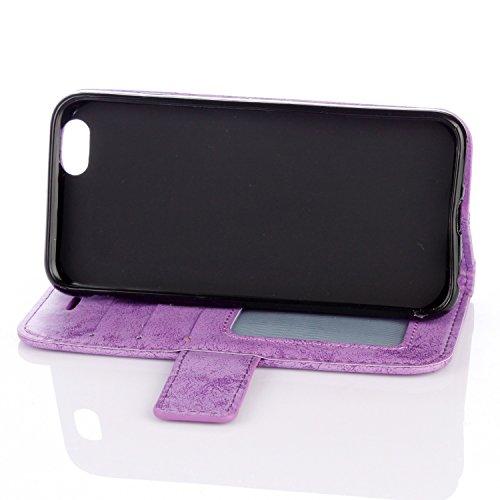 Für IPhone 6 & 6s Fall, Mandala Blume geprägtes Muster Schutzhülle Premium PU Leder Folio Flip Stand Brieftasche Case Beutel mit Lanyard & Halter & Card Cash Slots ( Color : Gold ) Purple
