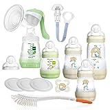 MAM Anti Colic Premium Starter Set STILLEN Neutral Neugeborenen-Set ab Geburt inkl. Flaschenbürste + 2 x Sauger Gr. 2, 4 Monate +