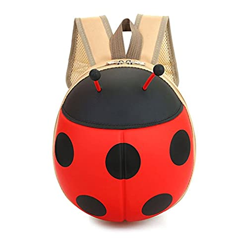 O&N Kids Ladybug Backpack for Girls, Cute and Adorable with Free Drawstring Bag