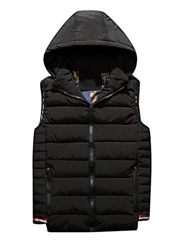 YouPue Manches Homme Pour Hiver Manteaux à Capuche Homme Veste Encapuchonné Zip Up Sans Manche Jacket Gilet Noir