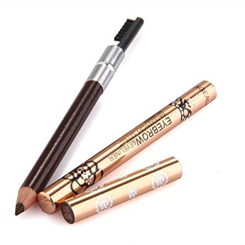 FACILLA® EyeLiner Crayon Café Foncé Etanche Yeux Maquillage 14cm avec Brosse à Sourcils