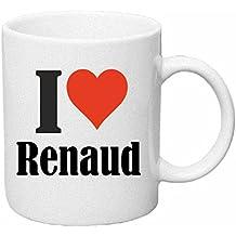 """Tasse de Café .. Tasse à Thé … Coffee Mug """" """"I Love Renaud"""" ... Hauteur 9 cm de Diamètre 8 cm Volume 330 ml ... Le cadeau idéal pour leur Partenaire - Collègue - Amis"""
