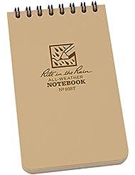 Rite in the Rain - Cuaderno de espiral (vertical, 7,62 x 12,7 cm), color marrón