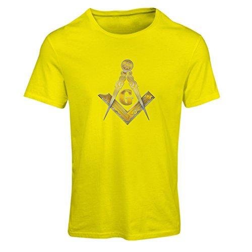 Frauen T-Shirt Freimaurer - masonic - Symbole Winkel und Zirkel mit G (Medium Gelb (Freimaurer Grad Kostüme)
