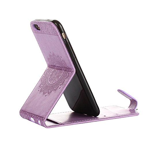 MOONCASE iPhone 4s Coque, Totem Embossed Housse en Cuir Etui à rabat Case avec Béquille pour iPhone 4 4s Vert Violet clair