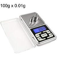 Xiaochou@sl Balanza de pesaje móvil de 100 g x 0,1 g de balanza portátil Digital Digital de Alta precisión con Pantalla LCD de 1,6 Pulgadas, tamaño: 12.0 * 6.2 * 2.0cm Portátil